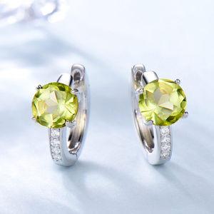 Natural Peridot Silver Clip Earrings For Women